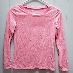 Pink Glitter Polka Dot Long Sleeve Tee